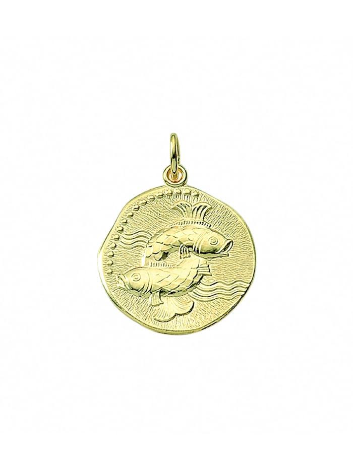 1001 Diamonds Damen & Herren Goldschmuck 333 Gold Sternzeichen Anhänger Fisch Ø 18,2 mm, gold