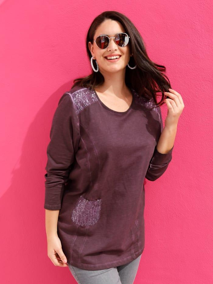 MIAMODA Sweatshirt mit Paillettenbesatz, Bordeaux