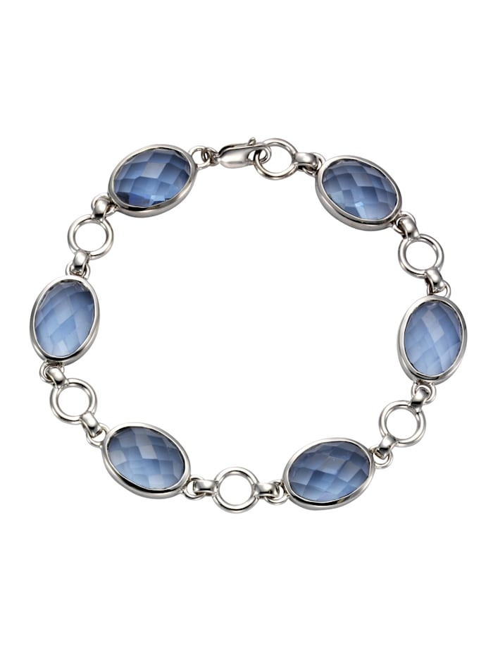 Jamelli Armband 925/- Sterling Silber Quarz (beh.) blau 20,5cm Glänzend, Silbergrau