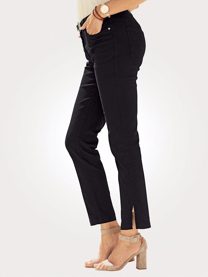 MONA 7/8-Jeans mit Reißverschluss am Beinabschluss, Schwarz