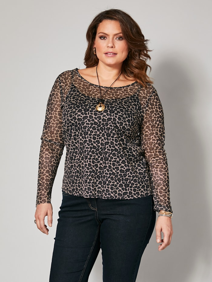 T-shirt en résille à imprimé léopard