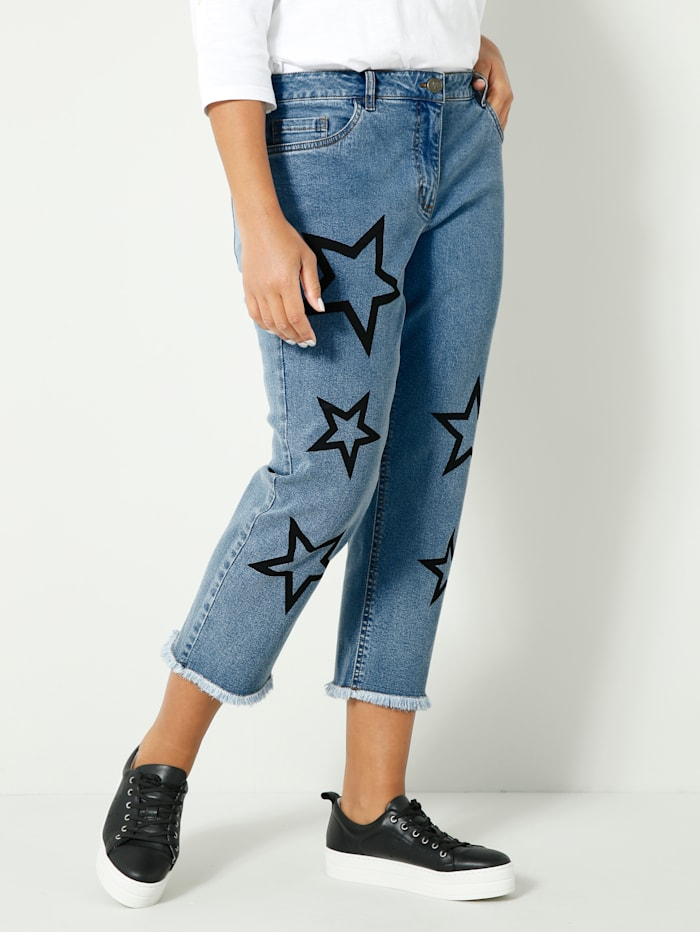 Angel of Style 7/8 Jeans mit Sternen, Blue bleached