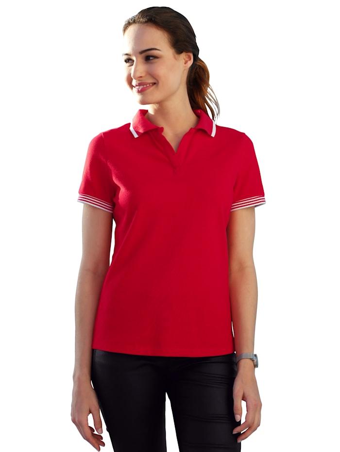AMY VERMONT Poloshirt mit Strickbündchen, Rot