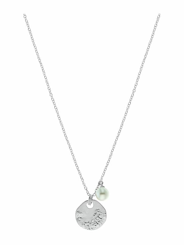 amor Kette mit Anhänger für Damen, Sterling Silber 925 mit Perle, Silber