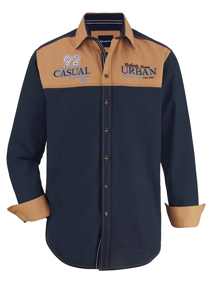 BABISTA Overhemd met contraststiksels, Marine/Okergeel