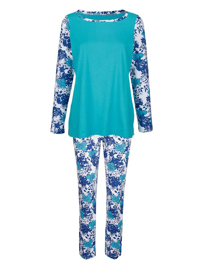 Blue Moon Pyjama met gedessineerde mouwen, Turquoise/Wit/Marine