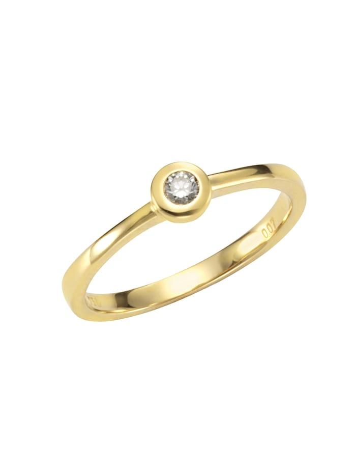Orolino Ring 585/- Gold Brillant weiß Brillant Glänzend 0.07 Karat 585/- Gold, gelb