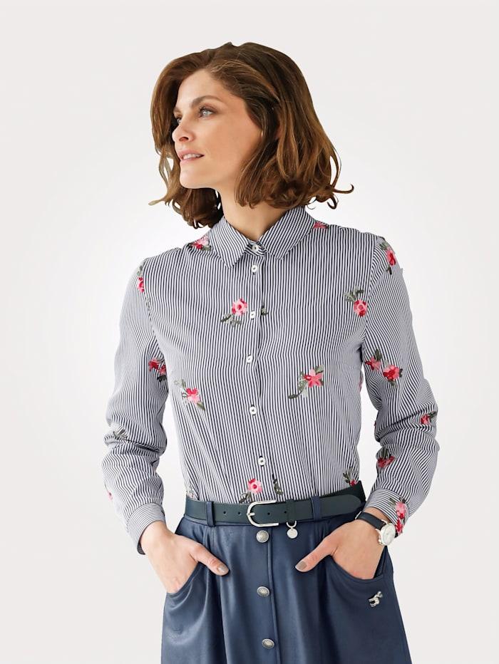 Bluse mit floraler Stickerei