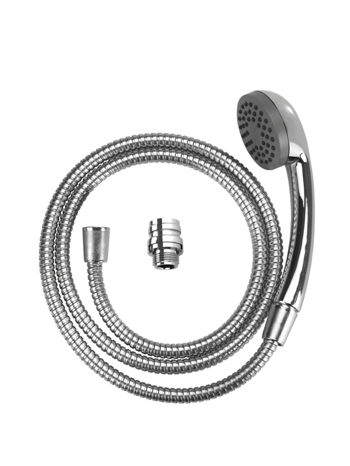 Wenko Waschbeckendusche, Brausekopf: Silber glänzend, Schlauch: Silber glänzend, Kunststoffteile: Grau