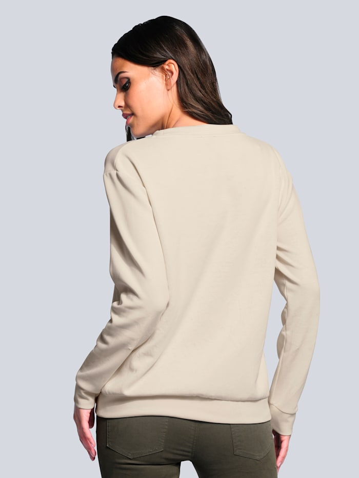 Sweatshirt van een hoogwaardige materialenmix