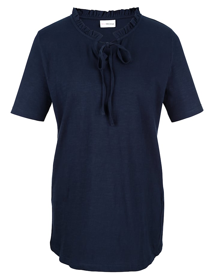 Shirt mit Bindebändern am Ausschnitt