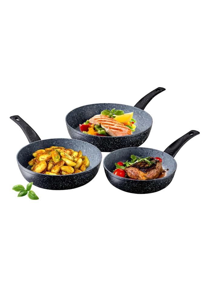 3-delers pannesett med høye kanter -Duroxx Granit Supreme-