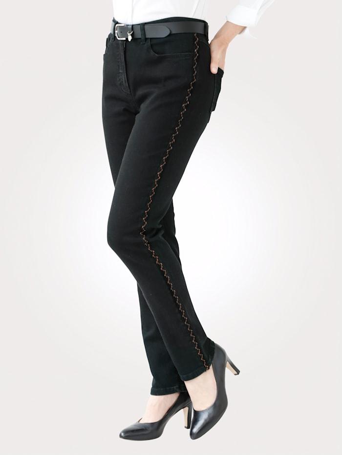 MONA Jeans met koperkleurige galonstreep, Zwart/Koperkleur