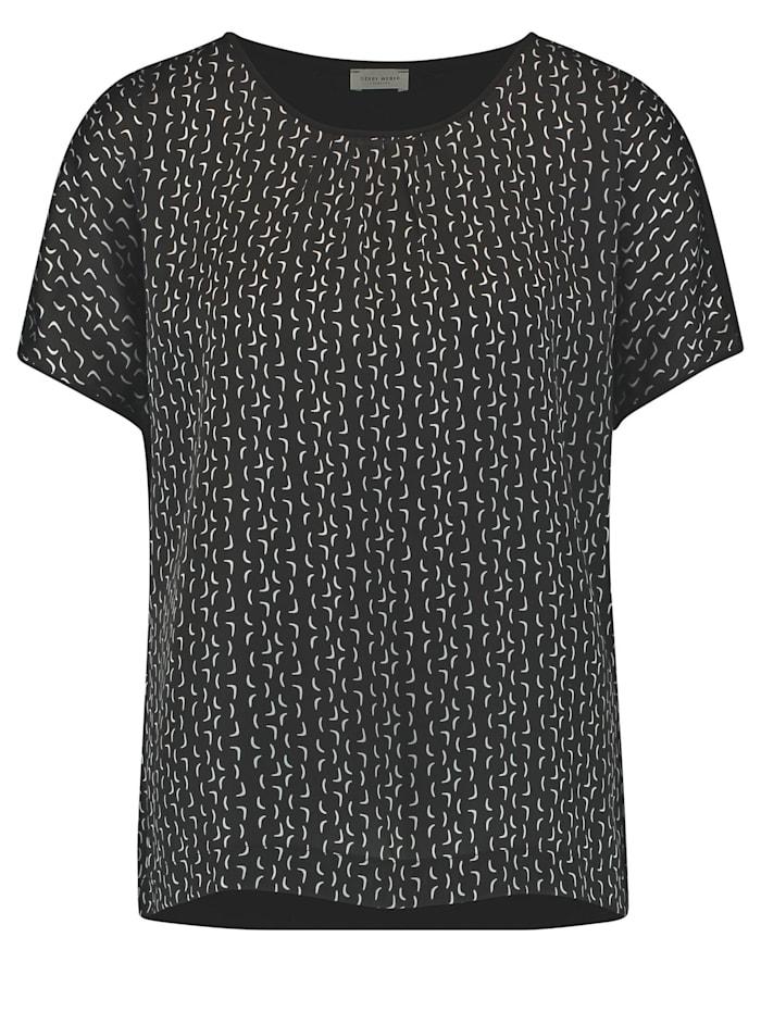 Gerry Weber Shirt mit grafischem Muster, Schwarz/Blau Gemustert
