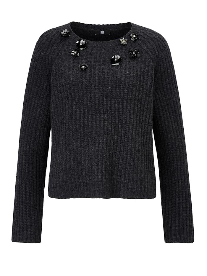 RIANI Pullover mit Besatz, Grau