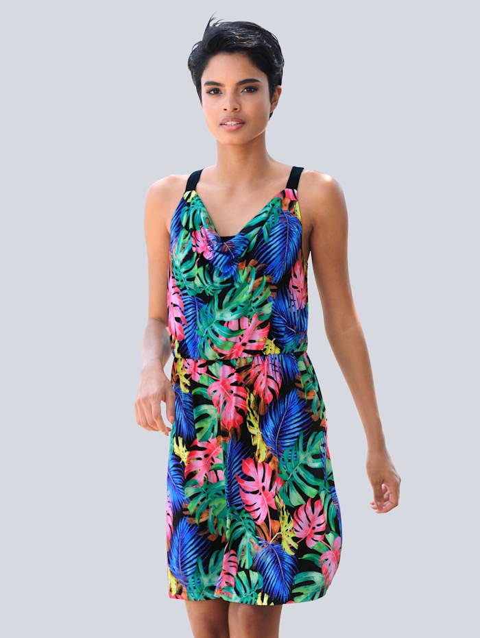 Alba Moda Strandkleid mit Wasserfallausschnitt, Schwarz-Bunt