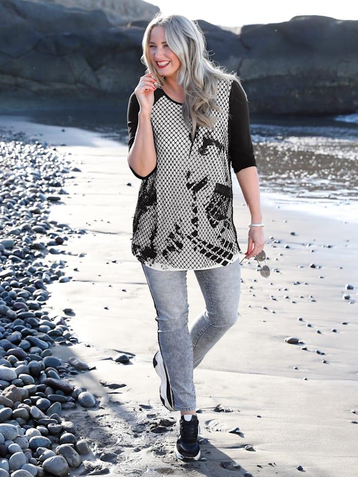 MIAMODA Longshirt mit Meshüberwurf, Schwarz/Weiß