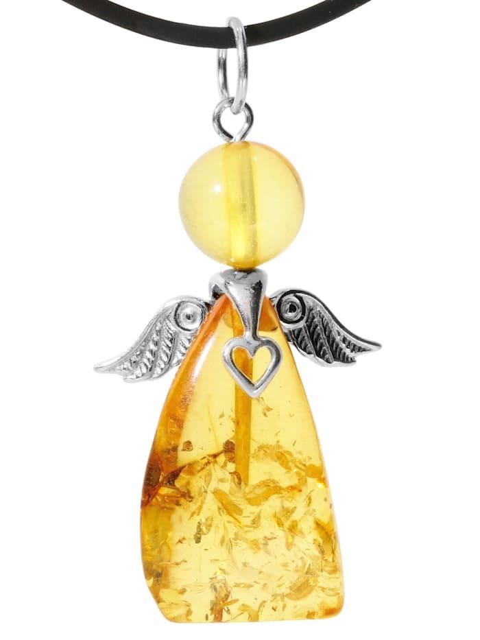 1001 Diamonds Engel Bernstein Anhänger 925 Silber, gelb