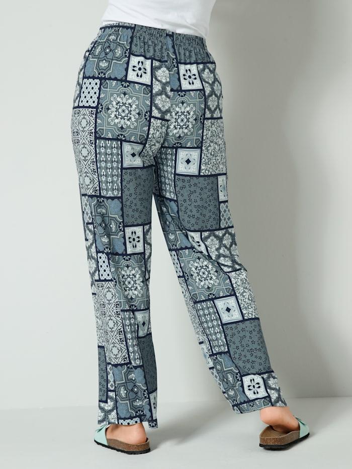 Jersey broek met grafisch patroon rondom