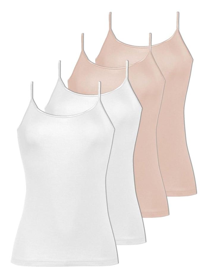 Naturana 4er Sparpack Damen Trägerhemd, Skin-Weiss