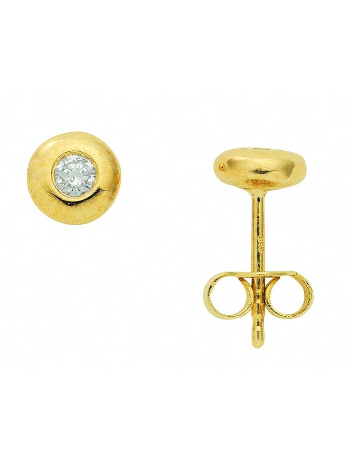 1001 Diamonds Damen Goldschmuck 585 Gold Ohrringe / Ohrstecker mit Brillant Ø 6,1 mm, gold