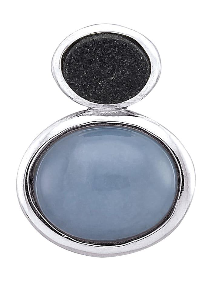 Diemer Farbstein Anhänger mit Chalcedon-Cabochon und Kristall, Blau