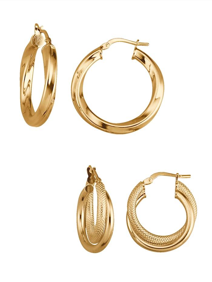 Golden Style 2 paires de créoles, Coloris or jaune