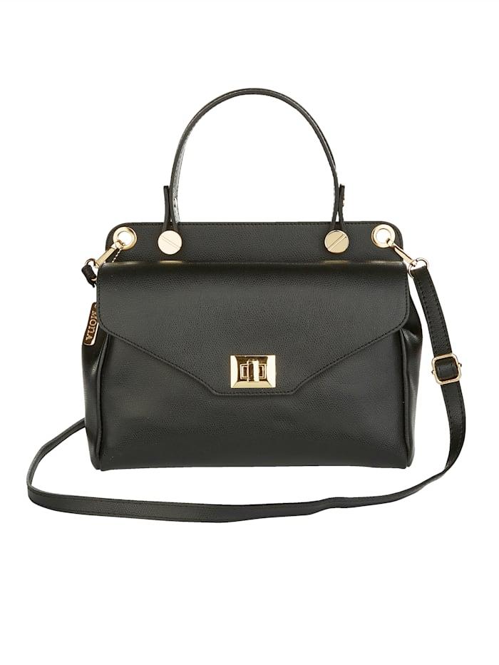 MONA Handtasche aus edlem Leder, schwarz
