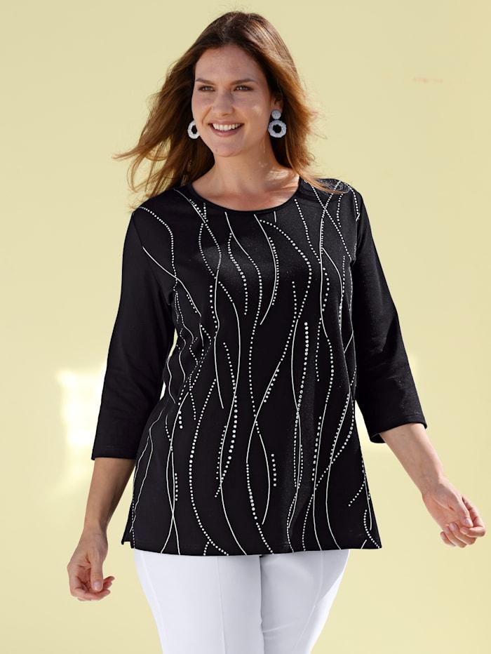 m. collection Shirt met zilverkleurige print, Zwart/Zilverkleur