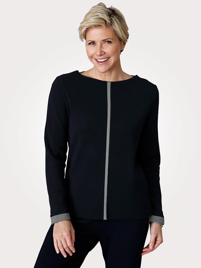 MONA Pullover mit Intarsienstrick, Marineblau/Grau