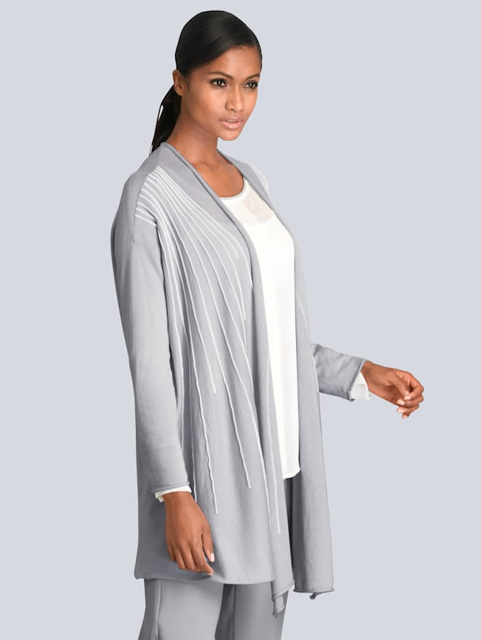 Alba Moda Vest met gebreide piping, Lichtgrijs/Wit