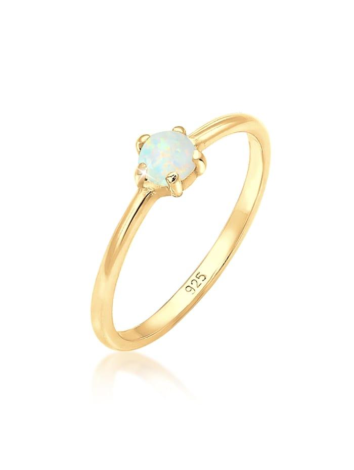 Elli Ring Basic Trend Bandring Synthetischer Opal 925 Silber, Gold