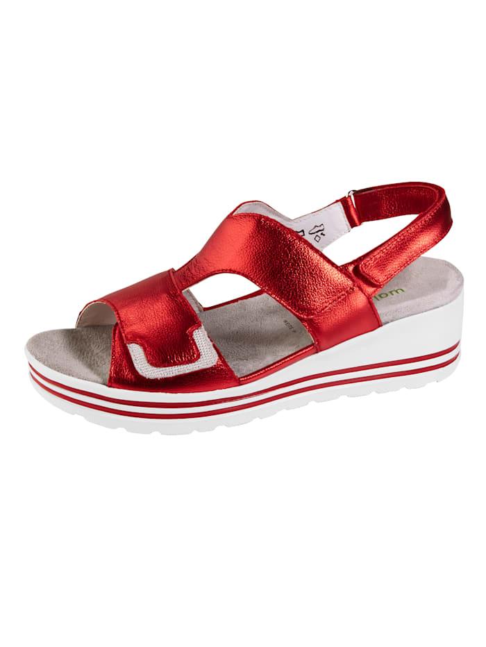 Waldläufer Kiilakorkoiset sandaalit kimallesomisteella, Punainen