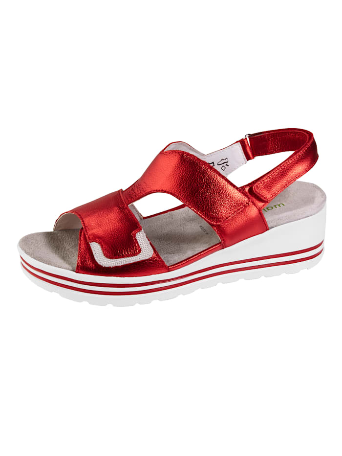 Waldläufer Sandály s módní třpytivouaplikací, Červená
