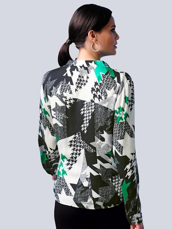 Bluse mit abstraktem Hahnentritt-Dessin