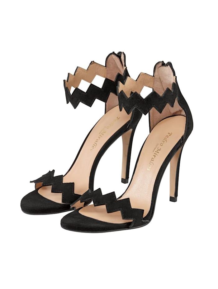 PEDRO MIRALLES Sandalette auf feinem Veloursleder, Schwarz