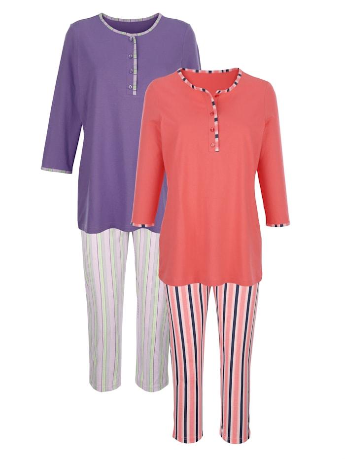 Harmony Pyjama's per 2 stuks met tijdloos streepdessin, Koraal/Paars