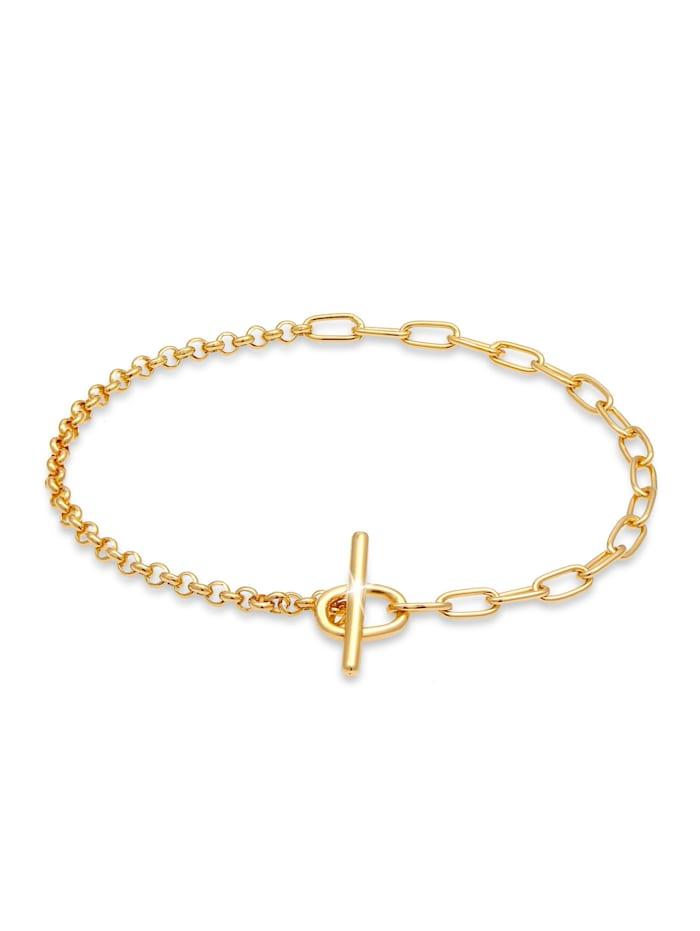 Elli Armband T-Bar Verschluss Ketten-Mix Blogger 925 Silber, Gold
