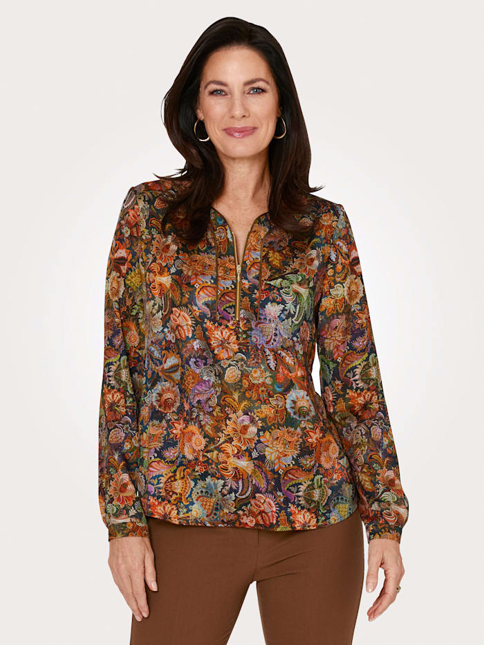 MONA Pull-on blouse with zip detail, Brown/Blue/Purple