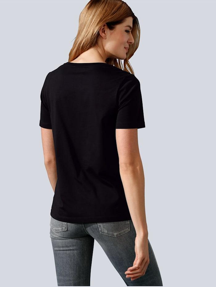 Shirt mit Motiv und Strasssteinchen im Vorderteil