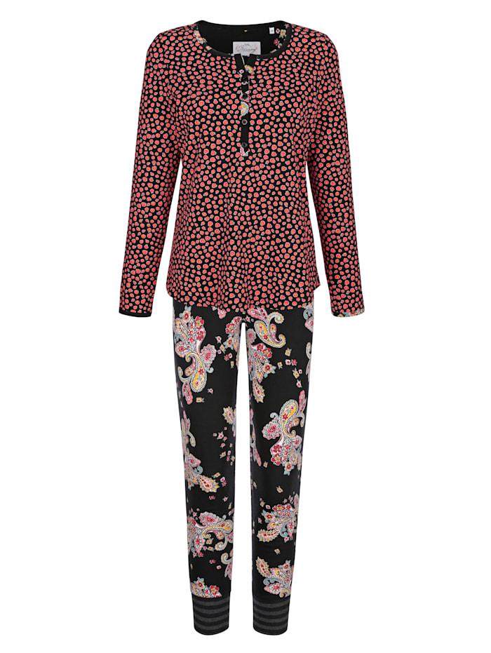 Ringella Bloomy Pyjama met een leuke patronenmix, Zwart/Lichtrood/Groen
