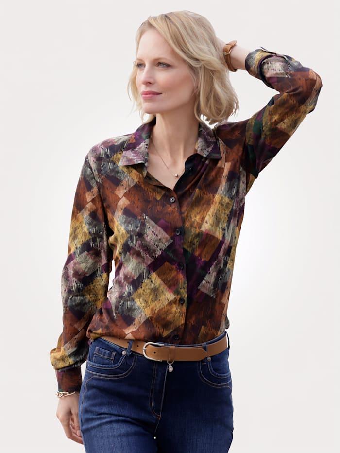 MONA Bluse aus reiner Viskose, Multicolor