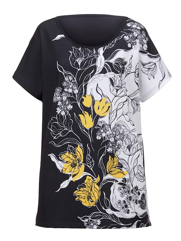 Shirt mit kontrastfarbenem Druckdessin im Vorderteil