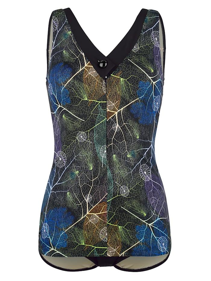Maritim Badpak in flatterend schootjesmodel, Zwart/Blauw/Groen