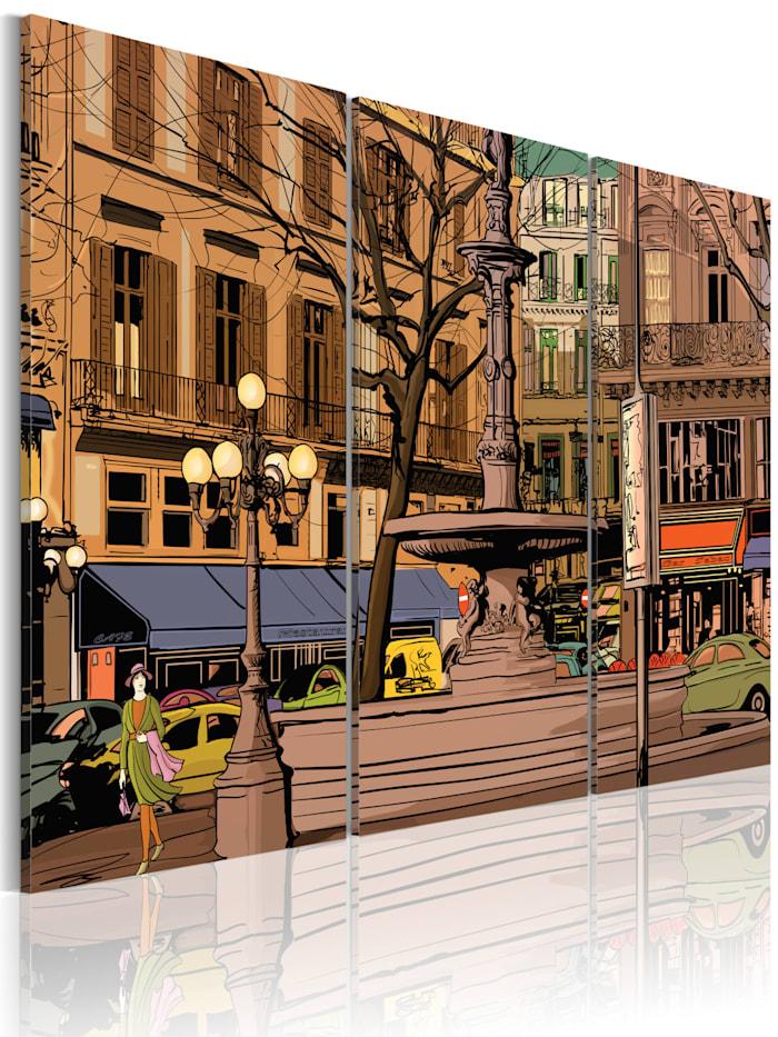 artgeist Wandbild Ruhiger Abend in Paris, Blau,Braun