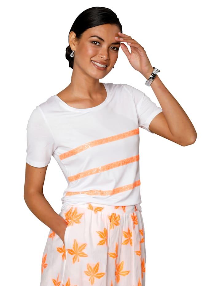 AMY VERMONT Shirt met pailletten, Wit/Neonoranje