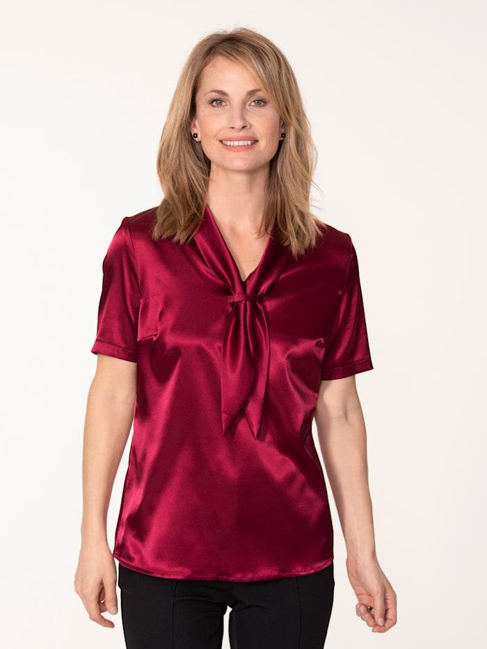 MONA Bluse aus elastischem Satin, Fuchsia