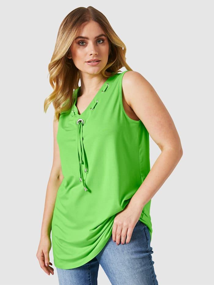 MIAMODA Longtop mit Dekobändern geschmückt, Grün