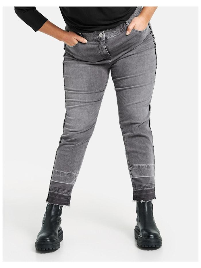 Samoon 3/4 Betty Jeans mit seitlichem Deko-Tape, Grey Denim