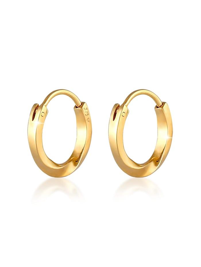 Elli Premium Ohrringe Creolen Ohrhänger Basic Rund 375 Gelbgold, Gold